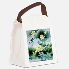 Oriental Floral & Bird Motif Canvas Lunch Bag