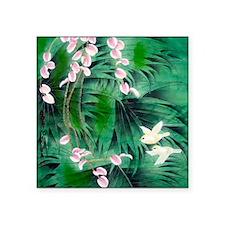 "Floral & Bird Motif Square Sticker 3"" x 3"""