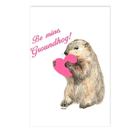 Be Mine, Groundhog Postcards (Package of 8)