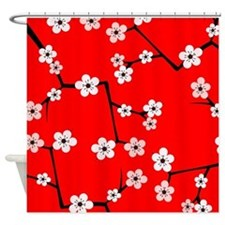 Cherry Blossom Red and Pink Shower Curtain