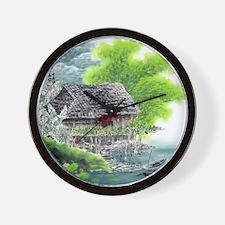Oriental Hut by the Riverside Wall Clock