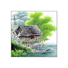 "Oriental Hut by the Riversi Square Sticker 3"" x 3"""