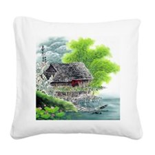 Oriental Hut by the Riverside Square Canvas Pillow