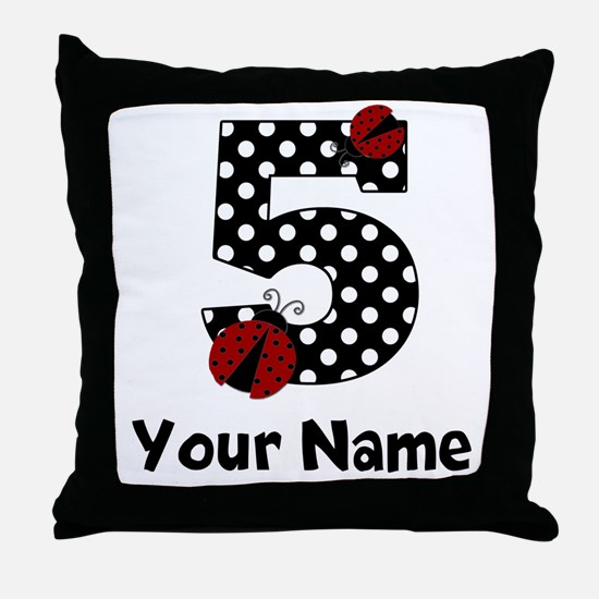 5th Birthday Ladybug Throw Pillow