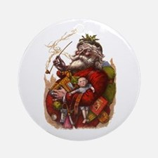 Vintage Christmas Santa Claus Ornament (Round)