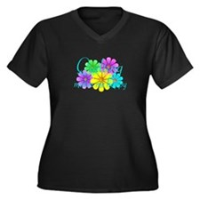 Quilting Happiness Women's Plus Size V-Neck Dark T