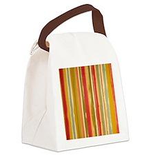 Earthy Rust Stripes Canvas Lunch Bag