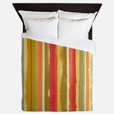 Earthy Rust Stripes Queen Duvet