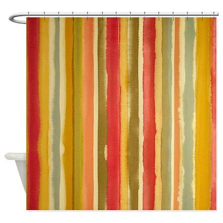 Earthy Rust Stripes Shower Curtain