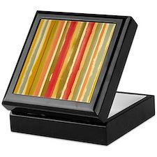 Earthy Rust Stripes Keepsake Box