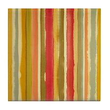 Earthy Rust Stripes Tile Coaster
