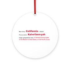 California Dictionary Definition Ornament (Round)