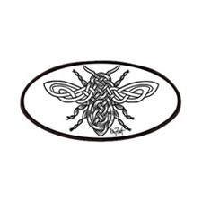 Celtic Knotwork Bee - black lines Patches