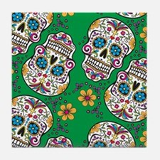SugarSkull Halloween Green Tile Coaster