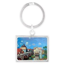 Bridge Moret, painting by Alfre Landscape Keychain