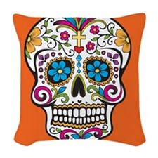Sugar Skull Halloween Orange Woven Throw Pillow