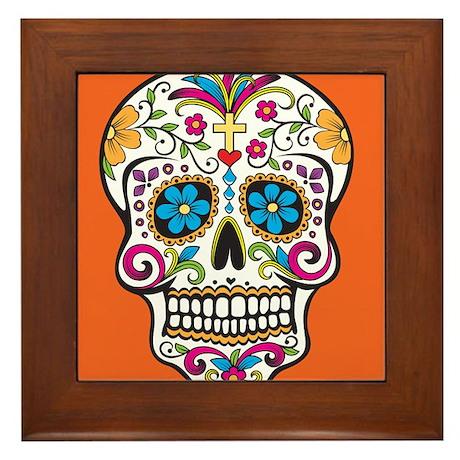 Sugar Skull Halloween Orange Framed Tile