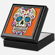 Sugar Skull Halloween Orange Keepsake Box