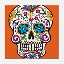 Sugar Skull Halloween Orange Tile Coaster