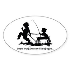 Little Red Wagon Oval Decal