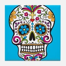 Sugar Skull Halloween Blue Tile Coaster