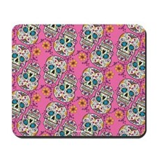 Sugar Skull Halloween Pink Mousepad