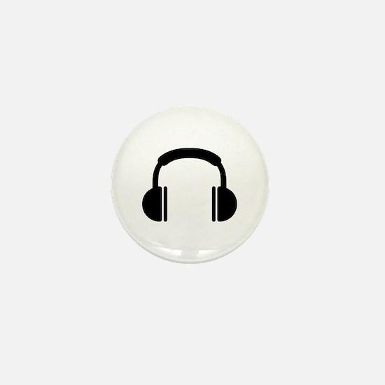 Headphones music DJ Mini Button