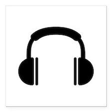 """Headphones music DJ Square Car Magnet 3"""" x 3"""""""
