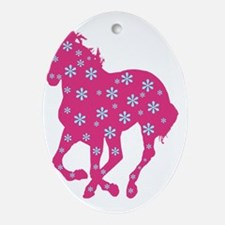 horse pink floral Oval Ornament