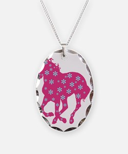 horse pink floral Necklace