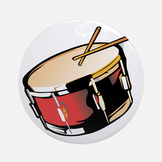 realistic snare drum red Ornament (Round)