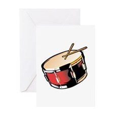 realistic snare drum red Greeting Cards