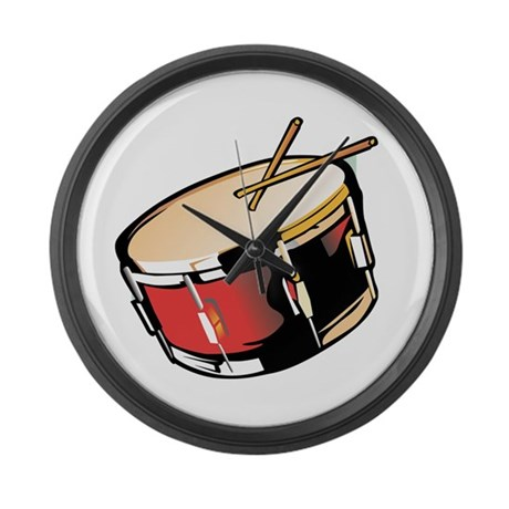 realistic snare drum red Large Wall Clock