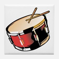 realistic snare drum red Tile Coaster