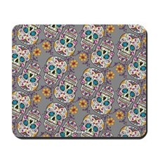 Sugar Skull Halloween Grey Mousepad