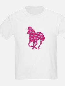 horse pink floral T-Shirt