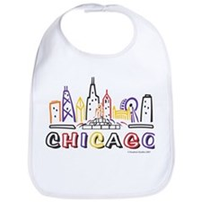 Cute Chicago Skyline Bib