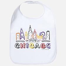 Cute Chicago Skyline Bib