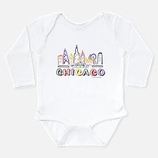 Cute Chicago Skyline Long Sleeve Infant Bodysuit
