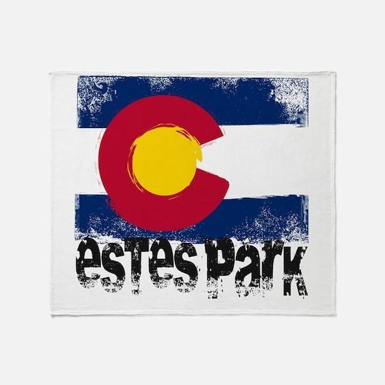 Estes Park Grunge Flag Throw Blanket