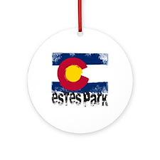 Estes Park Grunge Flag Ornament (Round)