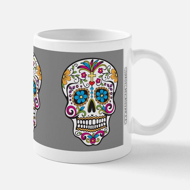 SugarSkull Halloween Grey Mugs