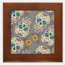 SugarSkull Halloween Grey Framed Tile