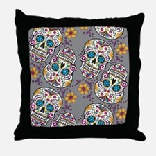 SugarSkull Halloween Grey Throw Pillow