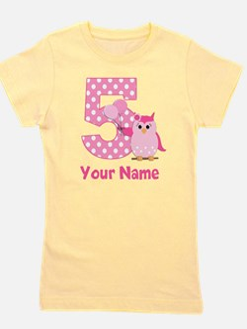 5th Birthday Owl Pink Girl's Tee