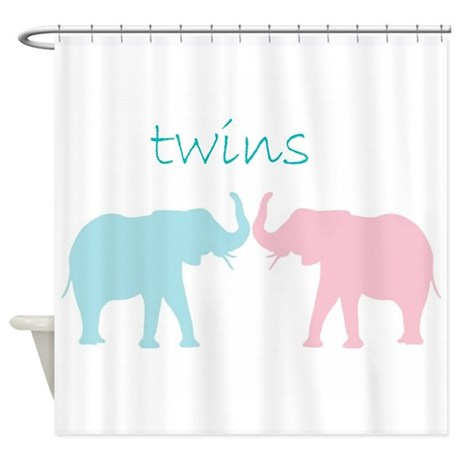 Pink And Blue Twin Art Shower Curtain By Cuteness2