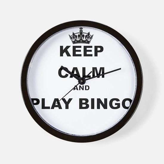 KEEP CALM AND PLAY BINGO Wall Clock
