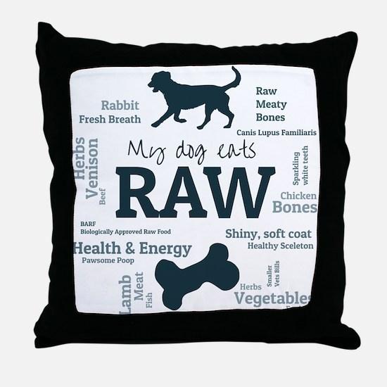 My dog Eats Raw Because..... Throw Pillow