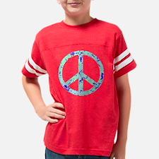 Peace Sign aqua Youth Football Shirt