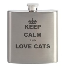 KEEP CALM AND LOVE CATS Flask